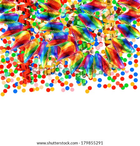 colorful garlands and confetti over white background. carnival or birthday party decoration - stock photo