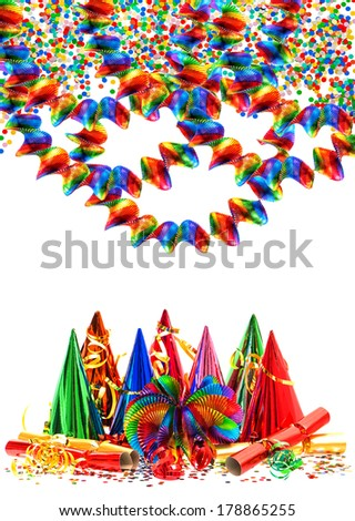 colorful garlands, streamer, party hats and confetti. carnival. birthday. new year - stock photo