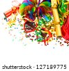 colorful garlands, streamer, party hats and confetti. festive decoration background - stock photo
