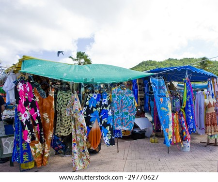 Colorful garments at a Caribbean open air market