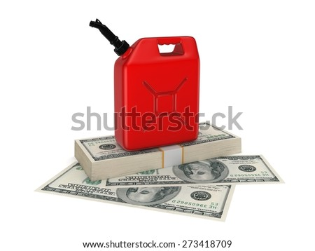 Colorful gasoline jerrycan and pack of euro. Isolated on white background. - stock photo