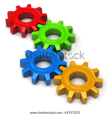 Colorful Gears - stock photo