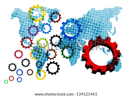 Colorful Gears on world background - stock photo