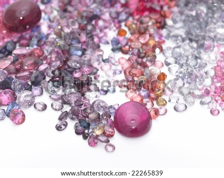Colorful gems in white  background - stock photo