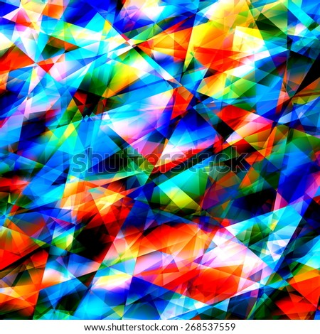 Colorful Geometric Art Background. Cracked or Broken Glass. Modern Polygonal Illustration. Triangular Abstract Pattern. Digital Texture Graphic. Creative Color Image. White Blue Cyan Turquoise Colors. - stock photo
