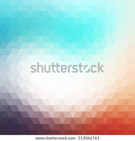 Colorful geometric background with triangles. Blurred mosaic pattern. Abstract background with polygonal design. Hipster style.  - stock photo