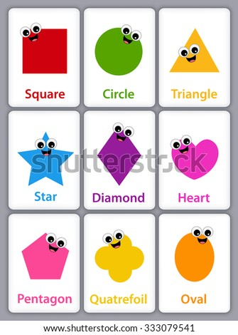 Worksheet Names Of Shapes With Pictures colorful geometric shapes their name flash stock vector 287212409 with card collection isolated on white background for preschool kids