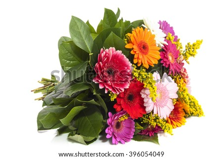 Colorful gerbera  bouquet  on a white background - stock photo