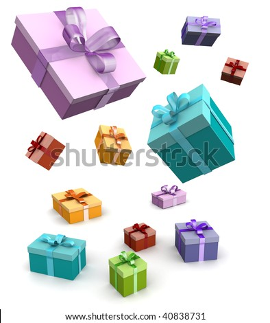 Colorful gift box falling in white background 3d illustration - stock photo