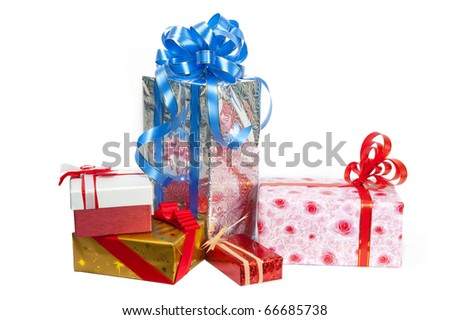 Colorful gift box on white background - stock photo