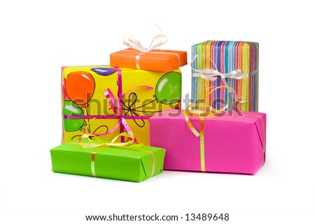 Colorful gift boxes. Isolated on white - stock photo