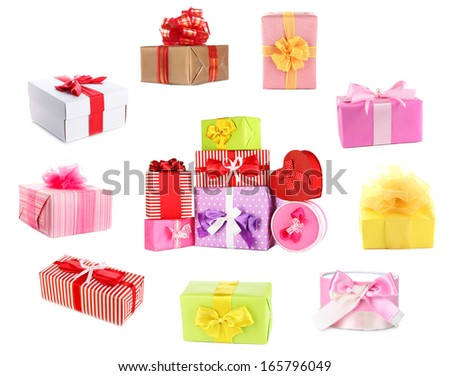 Colorful gift boxes isolated on white