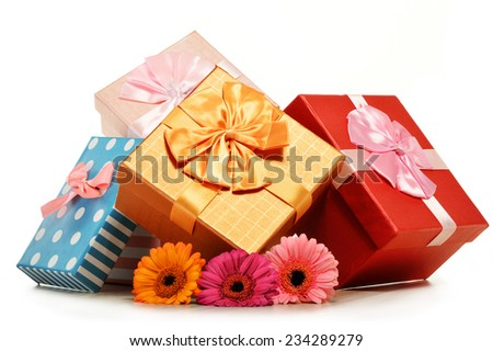 Colorful gift boxes isolated on white background. - stock photo