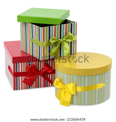 colorful gift boxes on white background  - stock photo