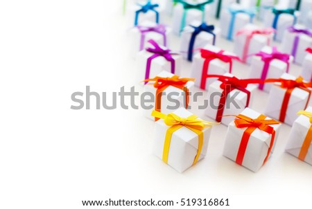 Colorful gift boxes on white background.