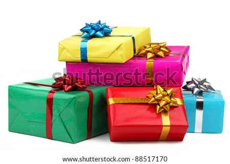 Gift boxes christmas ballsisolated on white 115992274 colorful gift boxes on white background negle Choice Image