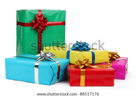 Colorful gift boxes on white background .. - stock photo
