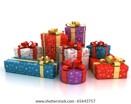 colorful gift boxes over white background 3d illustration
