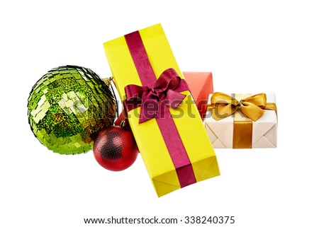 colorful gift boxes with bows and ribbons isolated in white - stock photo
