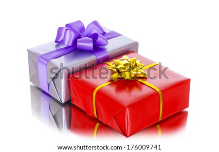 colorful gift boxes with bows, isolated on white  - stock photo