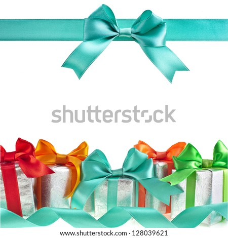 colorful gift boxes with bows isolated on white background - stock photo