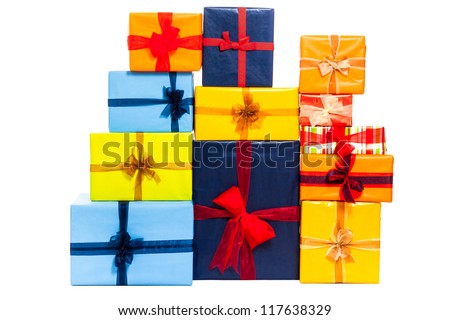 Colorful gift boxes with ribbon, isolated on white background. - stock photo