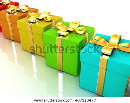 colorful gifts box. 3D illustration. Anaglyph. View with red/cyan glasses to see in 3D. - stock photo