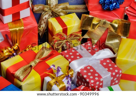 Colorful gifts box isolated - stock photo