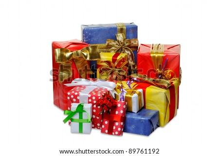 Colorful gifts box isolated on white background - stock photo