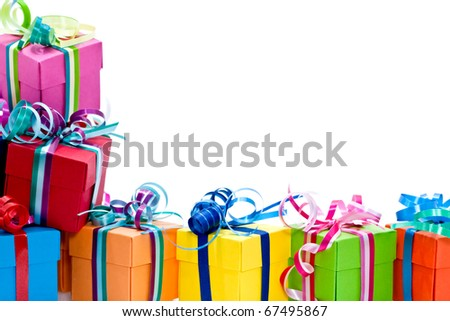 Colorful gifts box isolated on white studio background - stock photo