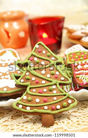 Colorful gingerbread Christmas tree