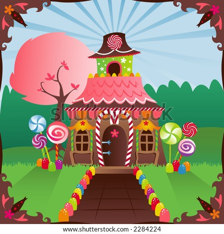 Colorful gingerbread house decorated in candy, in a bright setting... includes a storybook frame - stock photo