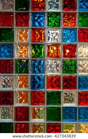 Colorful glass blocks panel for background pattern. - stock photo