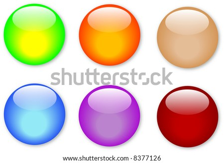 Colorful glass buttons with shadows