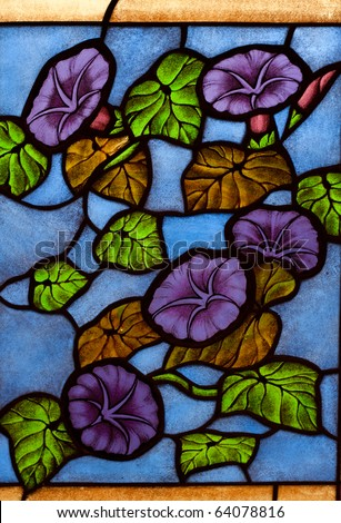 Colorful glass, colorful, colorful designs in the church fair JFS. - stock photo