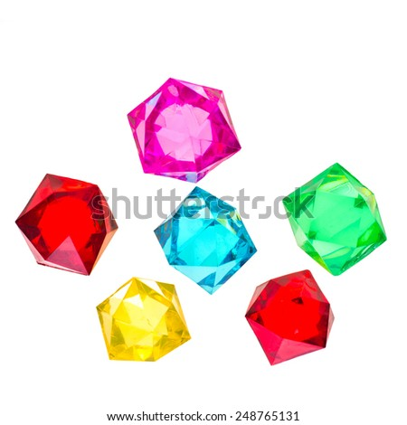 Colorful glass crystals isolated on white background - stock photo