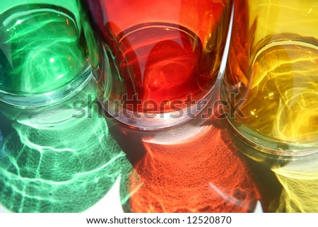 Colorful glass cups