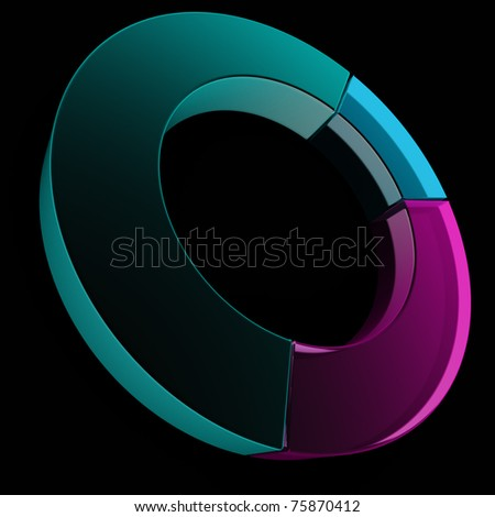 Colorful glass pie graph. 3D illustration on black.