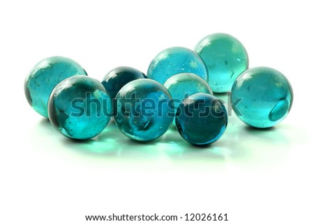 Colorful Glass Turquoise Marbles - stock photo