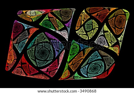 Colorful glass window - stock photo