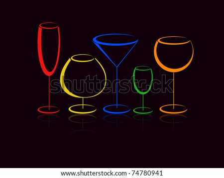 Colorful glasses of alcohol drinks