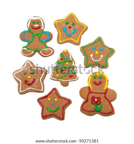 Colorful, glazed gingerbread cookies on white background