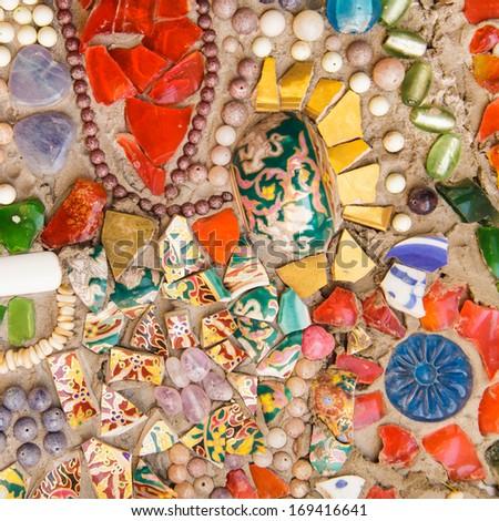 Colorful glazed tile background - stock photo