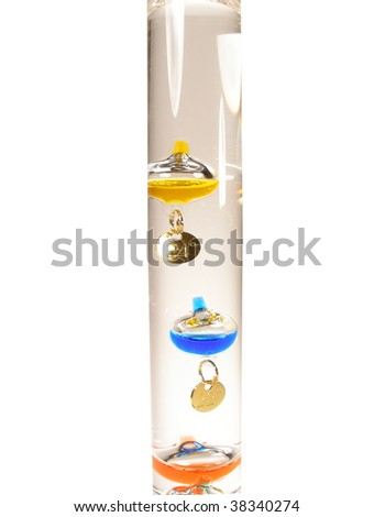 Colorful globes in liquid, water Galileo thermometer