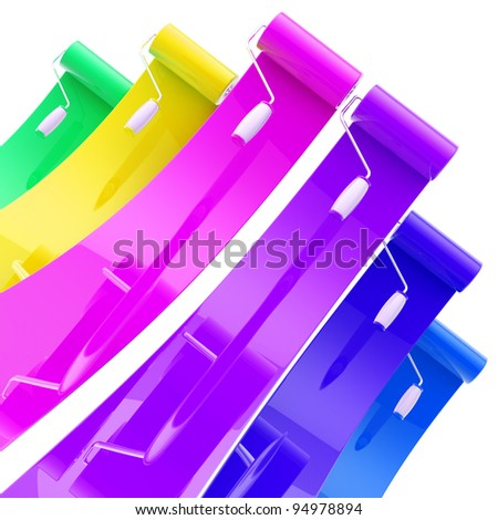 Colorful glossy bright paint rollers with color strokes
