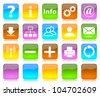 Colorful glossy internet icons series and five colors blank customizable buttons - stock photo