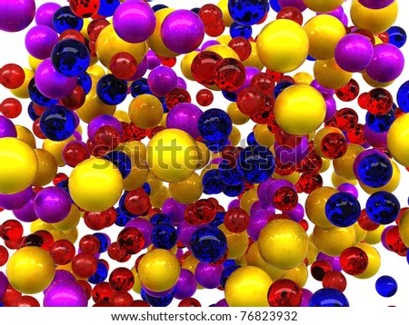 Colorful glossy orbs isolated over white background - stock photo