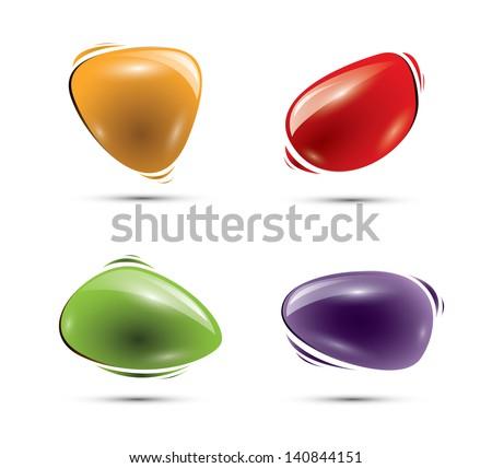 Colorful glossy shiny speech balloons - stock photo