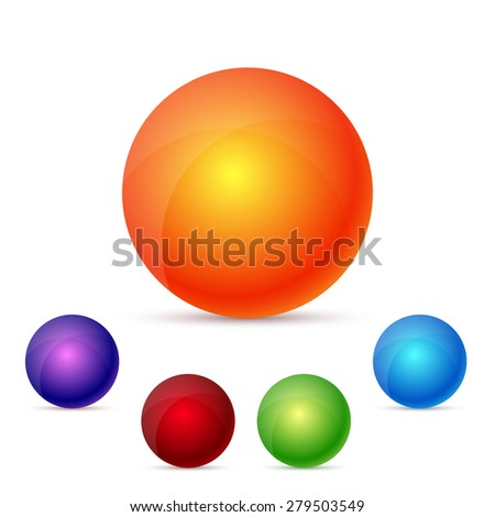 colorful glossy spheres, set, - stock photo