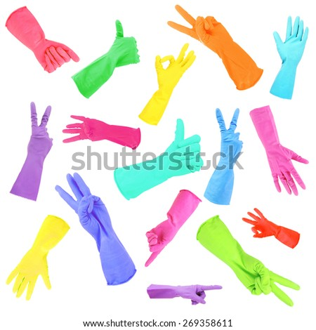 Colorful gloves gesturing numbers isolated on white - stock photo